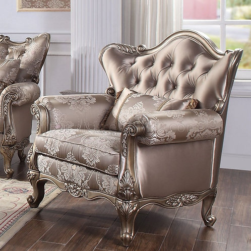 All Jayceon Traditional Fabric and Champagne Chair