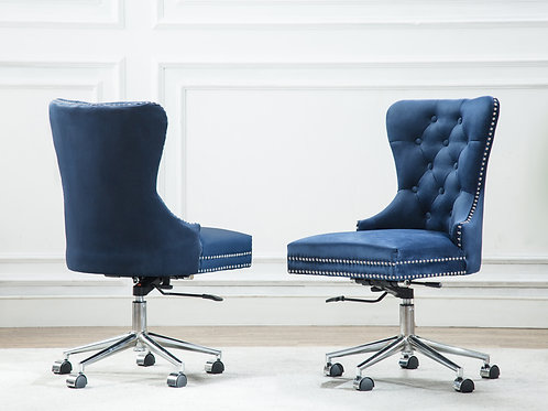 Best OC41 Navy Velvet Tufted Adjustable, Swivel Office Chair