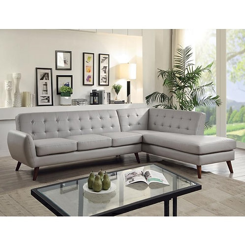 Esick All Gray PU Sectional Mid-Century