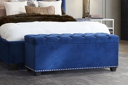 Dream Majestic Royal Navy Velvet Storage Ottoman