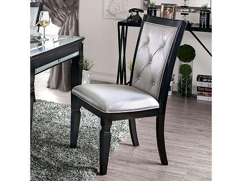 ALENA Imprad Transitional Black/Silver Tufted Glam Side Chair