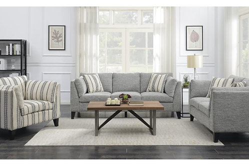 Emeral Elsbury Gray Fabric Sofa w/2 Accent Pillows