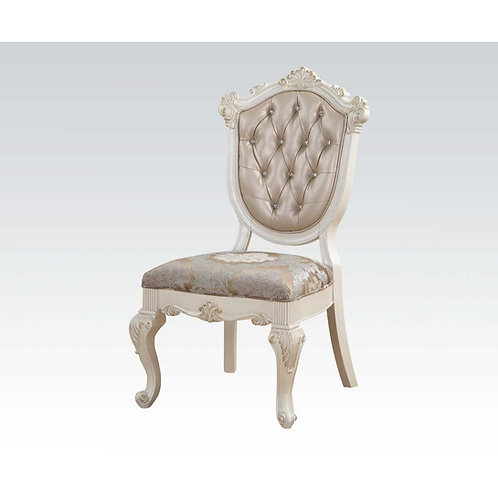 Chantelle All Side Chair Rose Gold PU & Pearl White