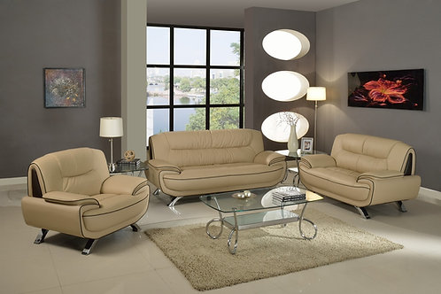 405 Geo Modern Beige Leather Sofa