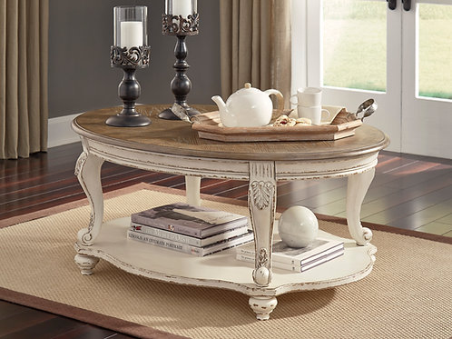 Angel Realyn Rustic White/Brown Oval Cocktail Coffee Table