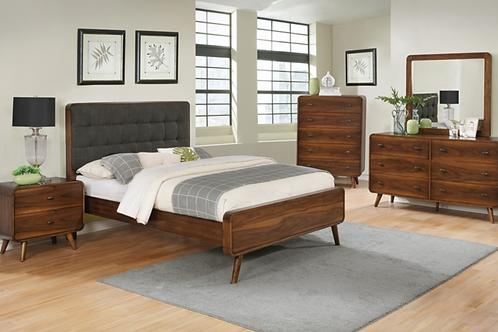 Cali Robyn Mid-Century Dark Walnut Padded Bed Frame