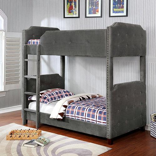 7606 Milt Velvet Gray Twin/Twin Bunk Bed