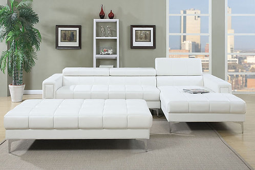 White Bonded Leather Sectional Port 7364