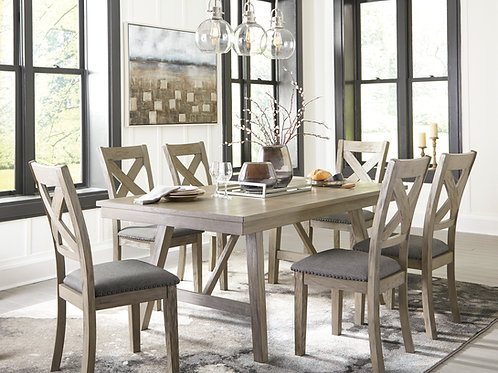 Aldwin Angel Gray Brushed Rectangular Dining Table