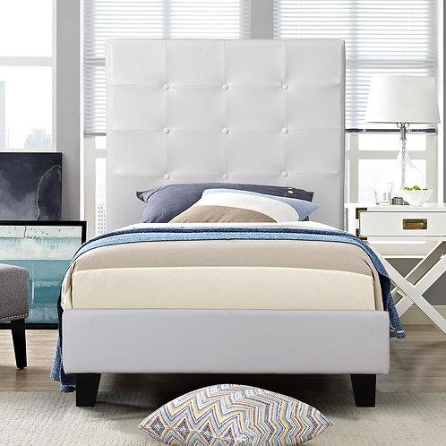 7597 Milt Platform White Bed Twin