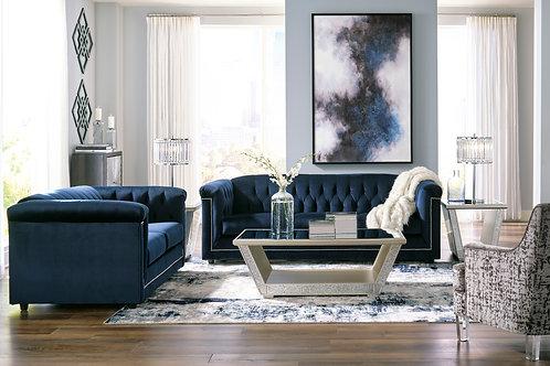 Angel Josanna Contemporary Navy Velvet Tufted Sofa