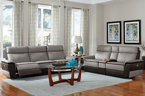 Laertes Henry Taupe Gray Top Grain Leather Power Reclining Sofa