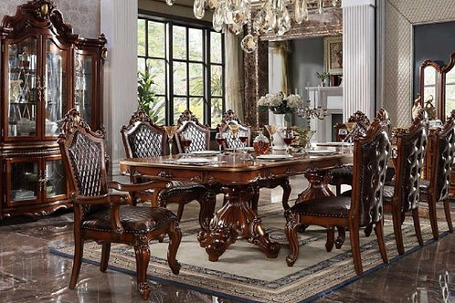 Picardy ALL Antique Cherry Oak Finish Pedestal Dining Table