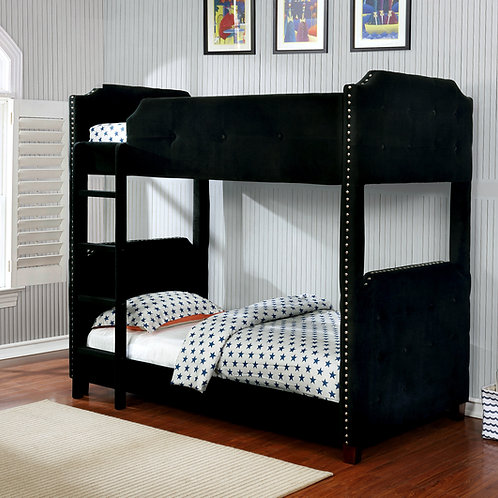 7605 Milt Velvet Black Bunk Bed