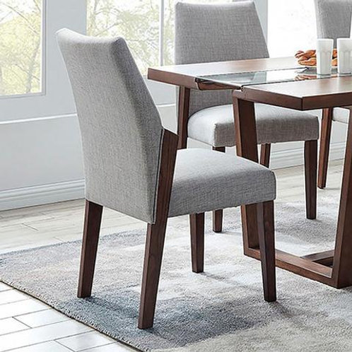 BRIGHID Imprad Mid-Century Modern Dark Oak, Light Gray Fabric Side Chair