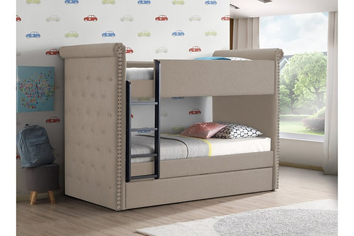 Romana All Beige Fabric Bunk Bed Twin/Twin & Trundle