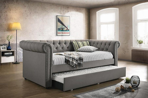 Cali Kepner Grey Fabric Tufted Daybed-Trundle w/Nailheads