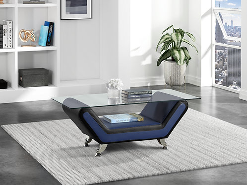 Henry Matteo Blue/Black Faux Leather Glass Coffee Table