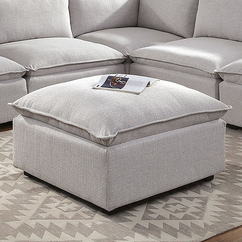 ARLENE Imprad Light Gray Fabric Ottoman