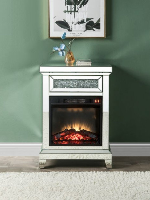 All 90866 Noralie Mirrored & Faux Diamonds Fireplace
