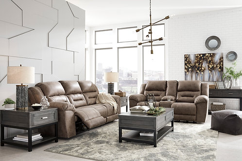 Angel Stoneland Fossil Microfiber Reclining Power Sofa