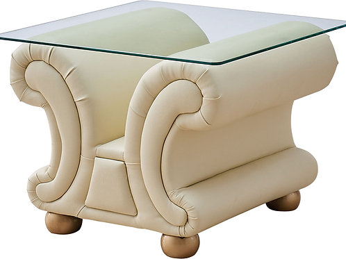 Apolo Ivory Classic Glass/Leather End Table