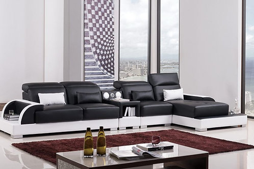 812 AE Black and White Faux Leather Sectional - Left Sitting