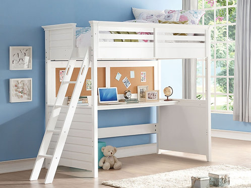 Lacey All Loft Bed w/Desk (Twin) White