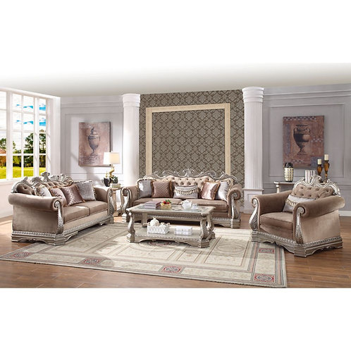 All Northville Traditional Velvet & Antique Silver Sofa