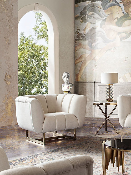 Dream Venus Cream Fabric / Brushed Gold Chair
