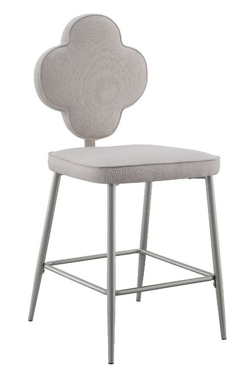 All Beige Fabric & Champagne Finish Counter Ht. Side Chair-73227