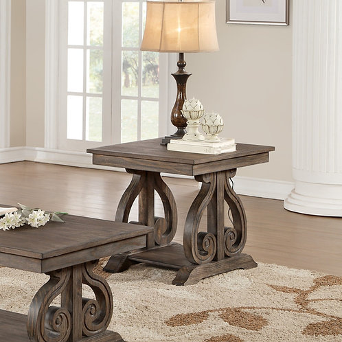 Toulon Henry Distressed Dark Oak Finish End Table