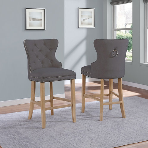 Best BS75 Gray Tufted Backrest & Nailhead Trim Barstool w/Ring Handle