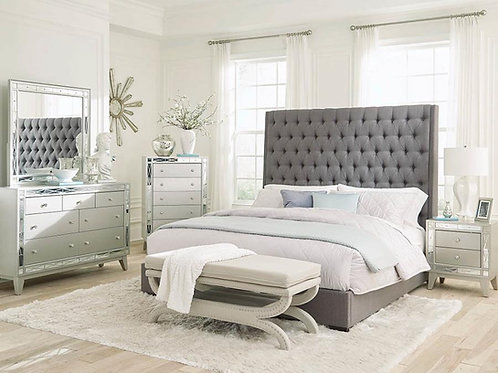 Camile Cali Button Tufted Gray Bed