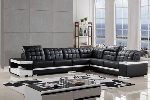 809 AE Black and White Faux Leather Sectional - Right Sitting