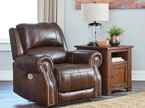 Angel Buncrana Chocolate Genuine Leather PWR Recliner Loveseat with Nail Heads