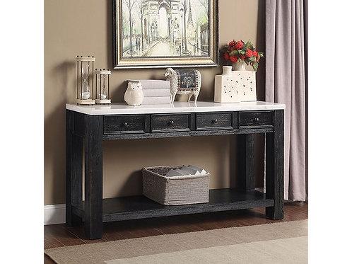 MCGILL Import Rustic White Marble, Antique Black Sofa Table