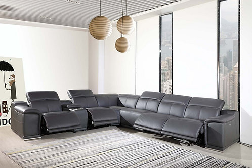 9762 Geo Dark Gray 7pc Power Reclining Sectional Italian Leather
