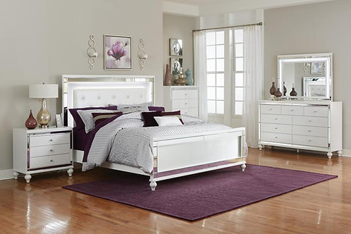 Alonza Henry White Bed with LED Lights