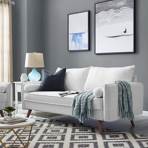 Revive Mod Mid-Century Fabric Sofa in White