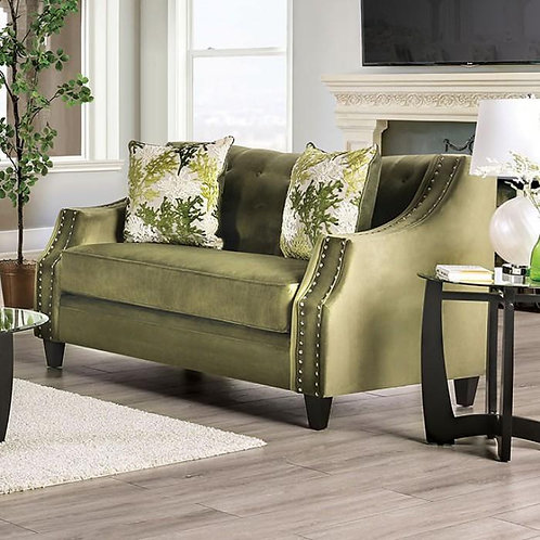 KAYE Imprad Transitional Green Microfiber Tufted Loveseat