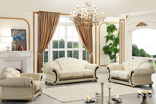 Apolo Ivory Classic Shiny Crocodile Embossed Leather Sofa