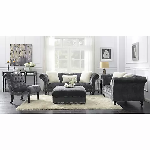 Hutton II Emer Charcoal Chesterfield Sofa