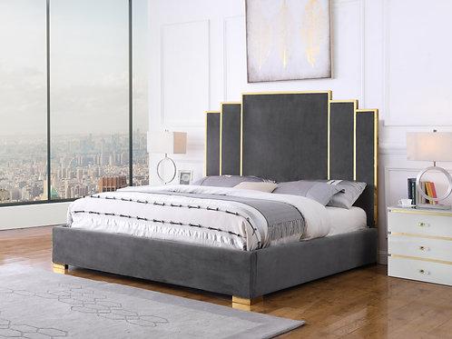Best B53 Gray Velvet Fabric Bed Frame
