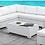 Thumbnail: SOMANI Imprad Contemporary White Fabric/Wicker U-Shaped Sectional + Coffee Table