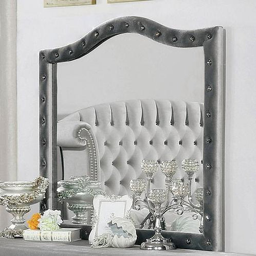 Imprad Alzire Gray Velvet Glam Mirror