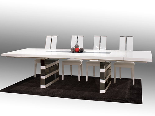 Mera Shar White/Mirror Dining Table