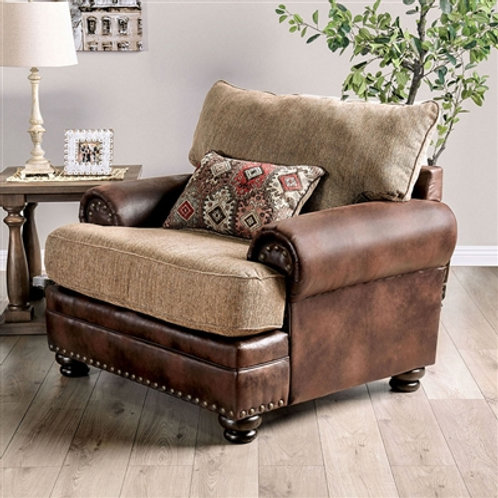 FLETCHER Imprad Transitional Brown Leather/Tan Chenille Fabric Chair