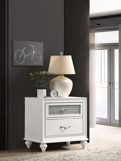 Barzini Cali 2-Drawer Nightstand White