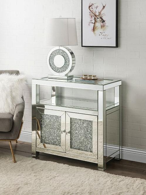 All 97953 Glam Mirrored Noralie Cabinet w/Diamonds